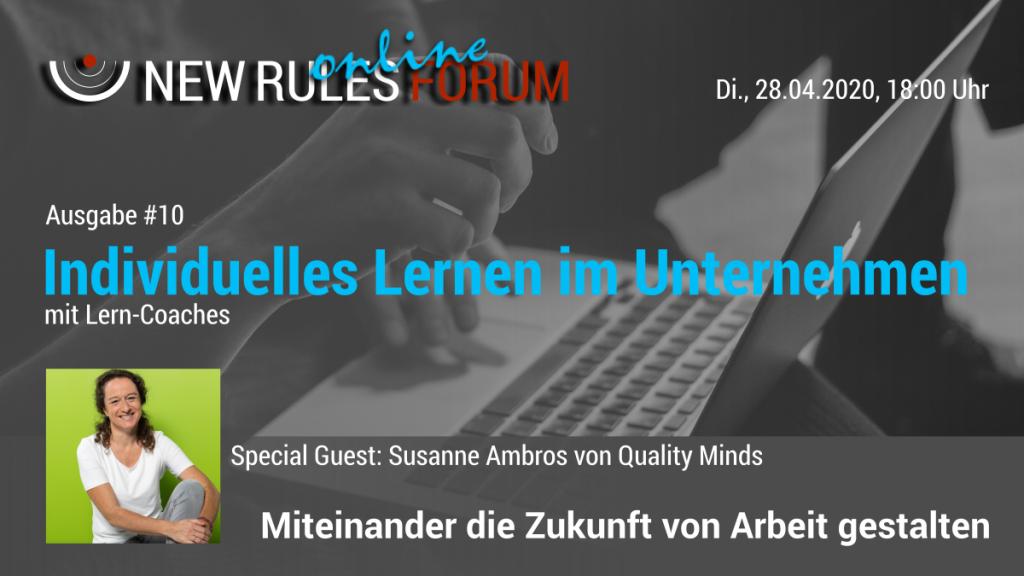 Banner zum 10. New Rules Forum - Individuelles Lernen im Unternehmen